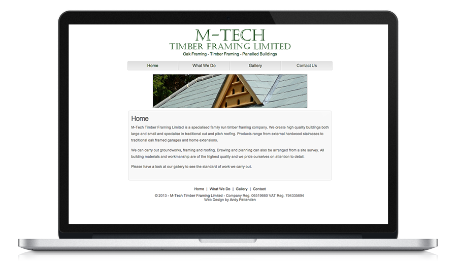 Screen shot of M-Tech Timber Framing website