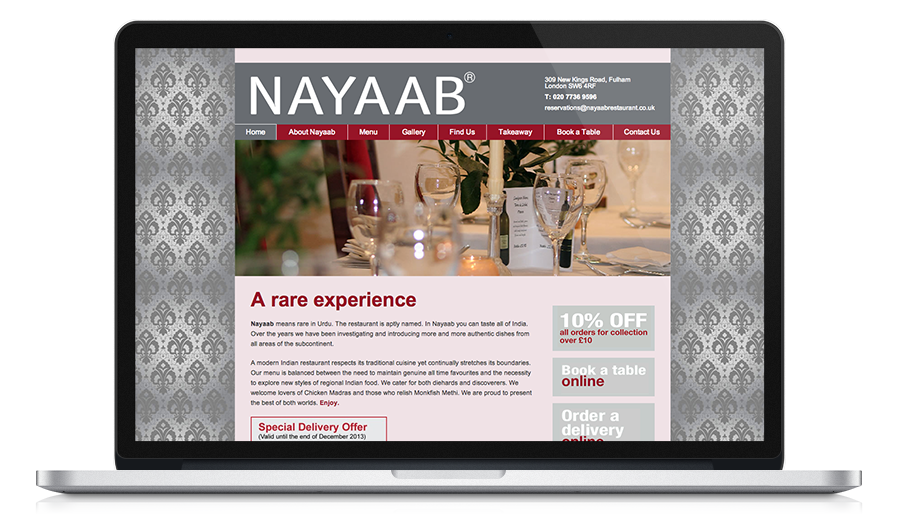 Screen shot of Nayaab Indian Restaurant website