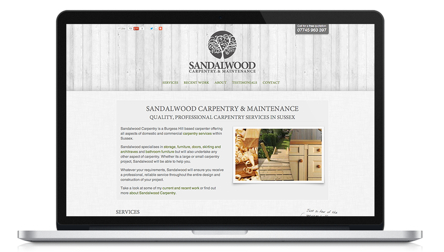 Screen shot of Sandalwood Carpentry website